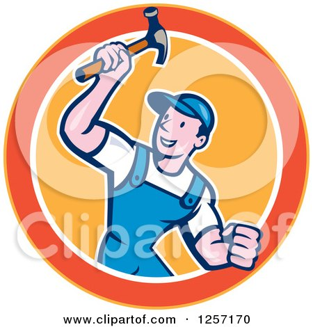 Clipart of a Cartoon Handyman or Carpenter with a Hammer in a Yellow Orange and White Circle - Royalty Free Vector Illustration by patrimonio