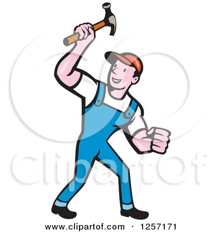 Cartoon Handyman or Carpenter with a Hammer Posters, Art Prints
