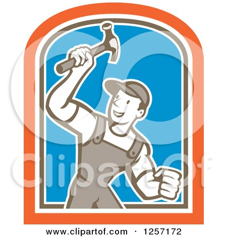Clipart of a Cartoon Handyman or Carpenter with a Hammer in a White Brown Orange and Blue Shield - Royalty Free Vector Illustration by patrimonio