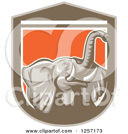 Clipart of a Mad Elephant in a Brown White and Orange Shield - Royalty Free Vector Illustration by patrimonio