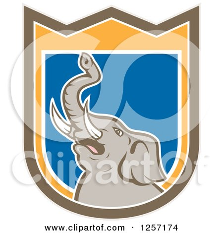 Clipart of a Mad Elephant in a Brown Orange White and Blue Shield - Royalty Free Vector Illustration by patrimonio