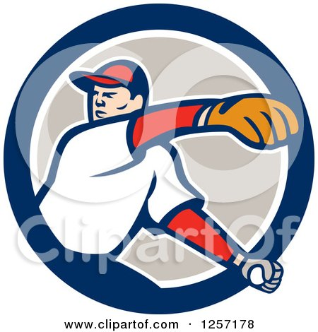 Clipart of a Male Baseball Player Pitching in a Blue White and Taupe Circle - Royalty Free Vector Illustration by patrimonio