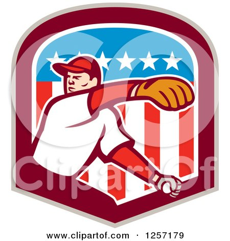 Clipart of a Male Baseball Player Pitching in an American Flag Shield - Royalty Free Vector Illustration by patrimonio