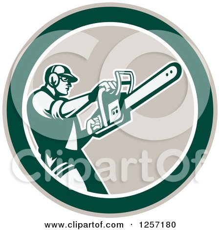 Clipart of a Retro Male Arborist Using a Chainsaw in a Taupe White and Green Circle - Royalty Free Vector Illustration by patrimonio