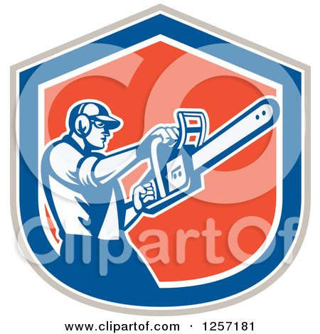 Clipart of a Retro Male Arborist Using a Chainsaw in a Gray White Blue and Orange Shield - Royalty Free Vector Illustration by patrimonio