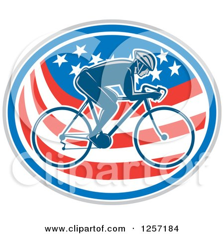 Clipart of a Retro Male Cyclist in an American Flag Oval - Royalty Free Vector Illustration by patrimonio