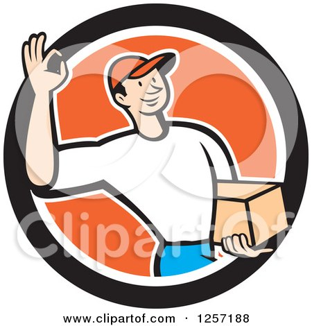 Clipart of a Delivery Man Gesturing Ok and Carrying a Parcel in an Orange White and Black Circle - Royalty Free Vector Illustration by patrimonio