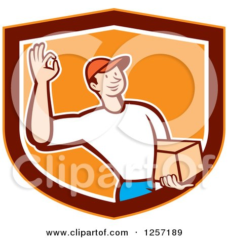 Clipart of a Delivery Man Gesturing Ok and Carrying a Parcel in an Orange Marroon and White Shield - Royalty Free Vector Illustration by patrimonio