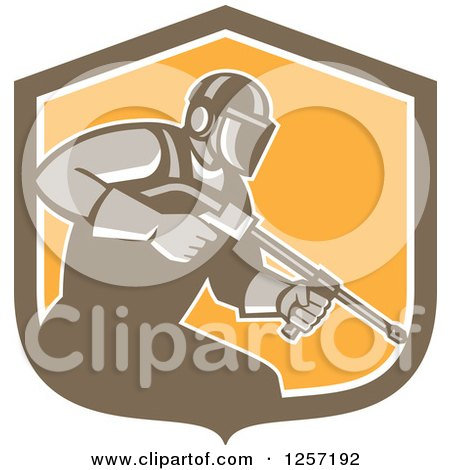 Clipart of a Retro Pressure Washer Worker in a Brown White and Orange Shield - Royalty Free Vector Illustration by patrimonio