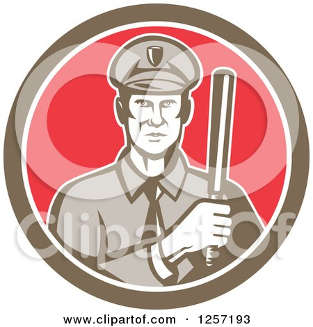 Clipart Of A Retro Male Policeman With A Baton In A Brown White And Red Circle Royalty Free Vector Illustration