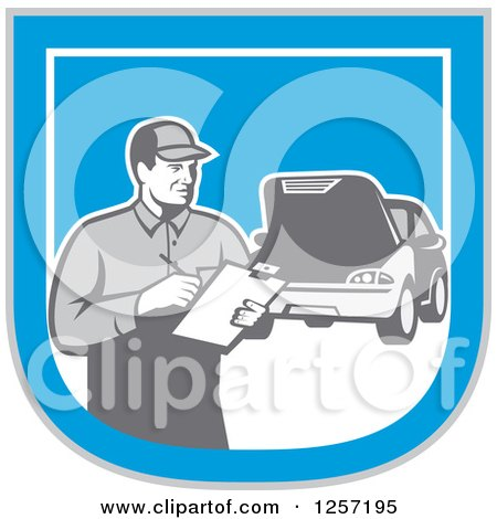 Clipart of a Retro Male Mechanic with a Clipboard and Car in a Blue White and Gray Shield - Royalty Free Vector Illustration by patrimonio