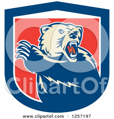 Clipart of a Retro Grizzly Bear Roaring and Slashing with His Paw in a Red White and Blue Shield - Royalty Free Vector Illustration by patrimonio