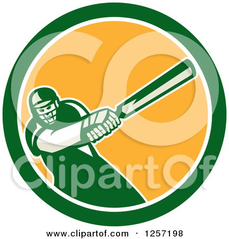 Clipart of a Retro Cricket Batsman Player Swinging in a Blue White and Yellow Circle - Royalty Free Vector Illustration by patrimonio