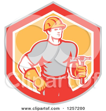 Clipart of a Handyman or Carpenter with a Hammer in a Gray Red White and Orange Shield - Royalty Free Vector Illustration by patrimonio