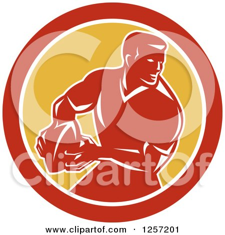 Clipart of a Retro Male Rugby Player in a Red White and Yellow Circle - Royalty Free Vector Illustration by patrimonio