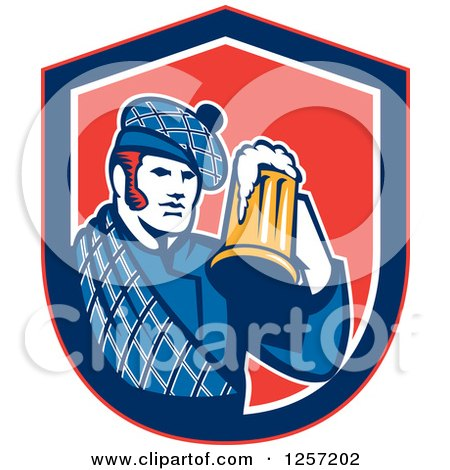 Clipart of a Retro Scotsman in a Tartan, Holding a Beer in a Blue White and Red Shield - Royalty Free Vector Illustration by patrimonio