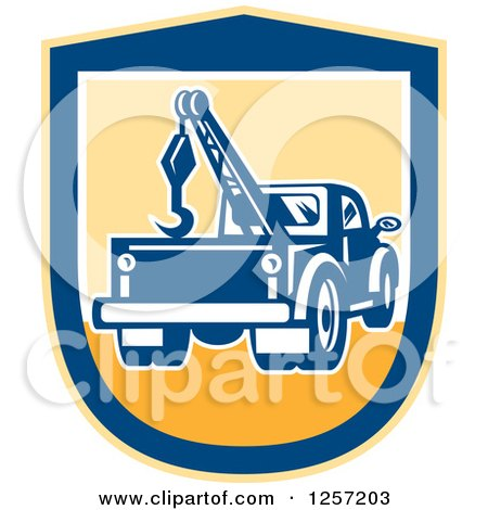 Clipart of a Retro Tow Truck in a Yellow and Blue Shield - Royalty Free Vector Illustration by patrimonio