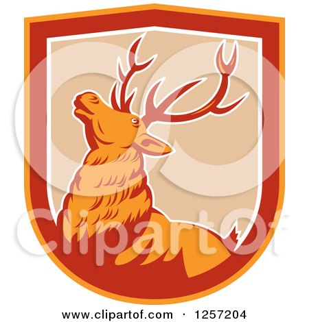 Clipart of a Retro Deer in a Tan White Red and Orange Shield - Royalty Free Vector Illustration by patrimonio