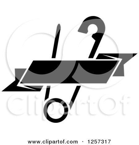 Clipart of a Black and White Safety Pin with a Ribbon Banner - Royalty Free Vector Illustration by Vector Tradition SM
