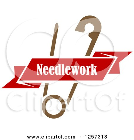 Clipart of a Brown Safety Pin with a Red Ribbon Needlework Banner - Royalty Free Vector Illustration by Vector Tradition SM