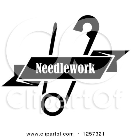Clipart of a Black and White Safety Pin with a Ribbon Needlework Banner - Royalty Free Vector Illustration by Vector Tradition SM