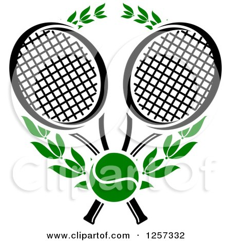 Clipart of a Green Tennis Ball and Laurel Wreath with Crossed Black and White Rackets - Royalty Free Vector Illustration by Vector Tradition SM
