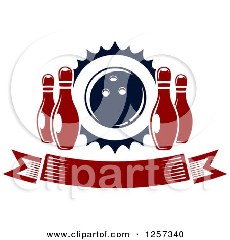 Clipart of a Banner with Pins and a Bowling Ball - Royalty Free Vector Illustration by Vector Tradition SM