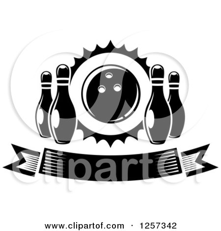 Clipart of a Black and White Banner with Pins and a Bowling Ball - Royalty Free Vector Illustration by Vector Tradition SM