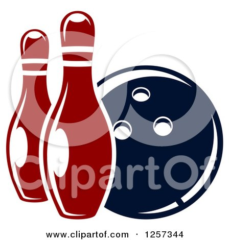 Clipart of a Bowling Ball with Two Pins - Royalty Free Vector Illustration by Vector Tradition SM
