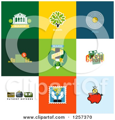 Clipart of Banking and Finance Icons on Colorful Tiles - Royalty Free Vector Illustration by elena