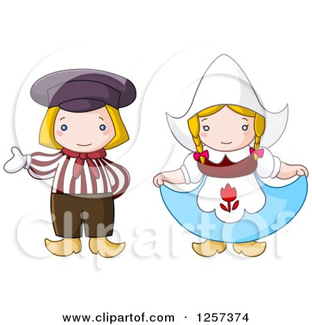 Clipart of a Cute Dutch Couple Presenting and Curtsying - Royalty Free Vector Illustration by yayayoyo