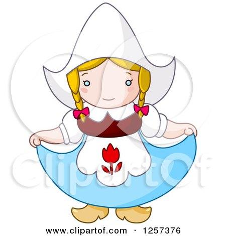 Clipart of a Cute Dutch Girl Curtsying - Royalty Free Vector Illustration by yayayoyo