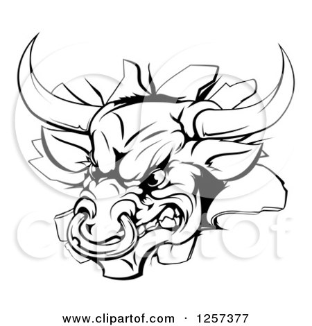 Clipart of a Black and White Aggressive Bull Breaking Through a Wall - Royalty Free Vector Illustration by AtStockIllustration