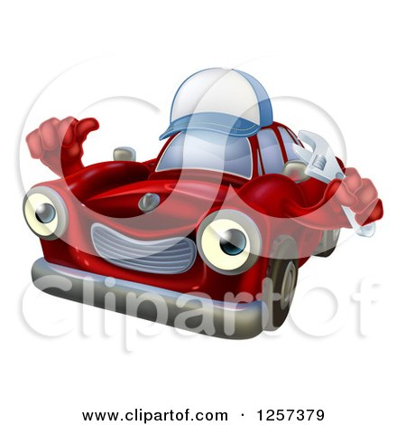 Clipart of a Red Car Character Mechanic Wearing a Hat, Holding a Wrench and Thumb up - Royalty Free Vector Illustration by AtStockIllustration