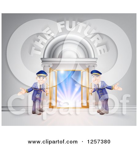 Clipart of a Venue Entrance with Welcoming Friendly Doormen and the Future Text - Royalty Free Vector Illustration by AtStockIllustration