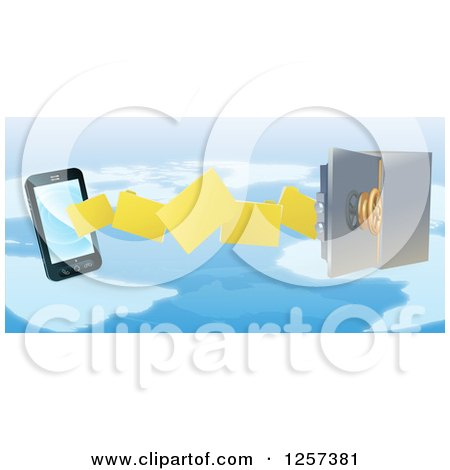 Clipart of a 3d Secure Cell Phone Transfering Backup Files to a Safe over a Map - Royalty Free Vector Illustration by AtStockIllustration
