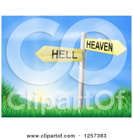 Clipart of 3d Heaven or Hell Arrow Signs over Grassy Hills and a Sunrise - Royalty Free Vector Illustration by AtStockIllustration