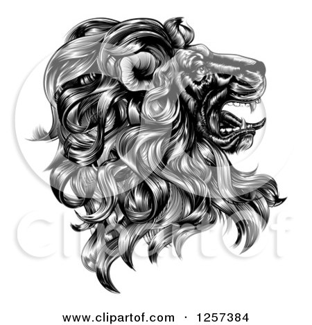 Clipart of a Black and White Vintage Engraved Profiled Heraldic Lion Head - Royalty Free Vector Illustration by AtStockIllustration