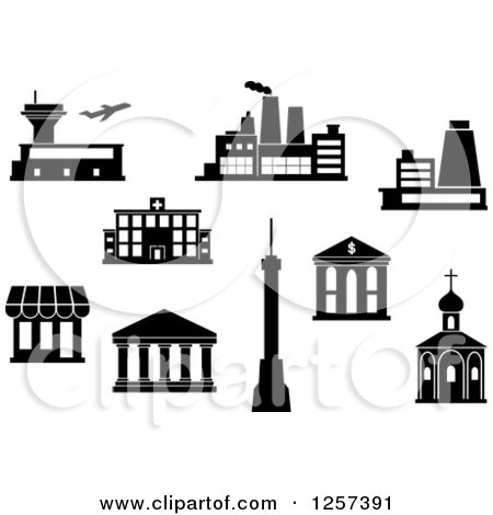 Clipart of a Black and White Airport, Factory, Power Plant, Hospital, Bank, Shop, Temple, Tv Tower and Church - Royalty Free Vector Illustration by Vector Tradition SM