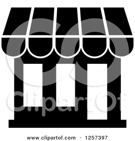 Clipart of a Black and White Store or Shop Building - Royalty Free Vector Illustration by Vector Tradition SM