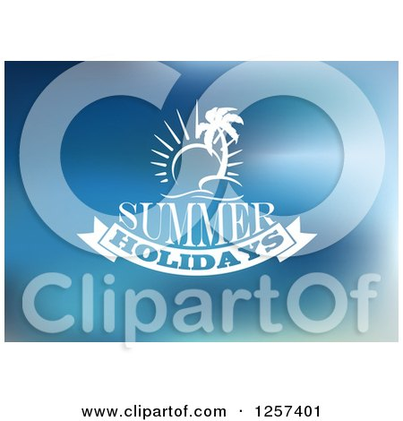 Clipart of a White Sun and Island with Summer Holidays Text over Blue - Royalty Free Vector Illustration by Vector Tradition SM