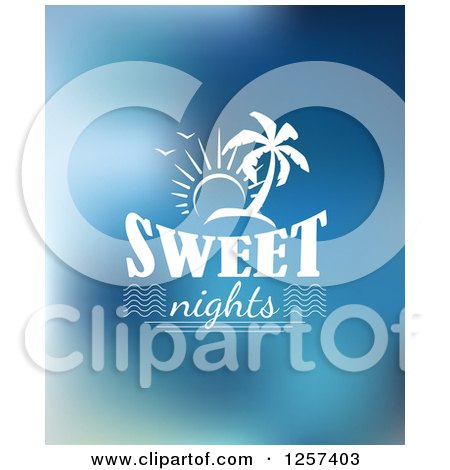 Clipart of a White Sun and Island over Sweet Nights Text - Royalty Free Vector Illustration by Vector Tradition SM