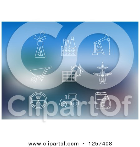 Clipart of White Oil Industry Icons over Blue - Royalty Free Vector Illustration by Vector Tradition SM