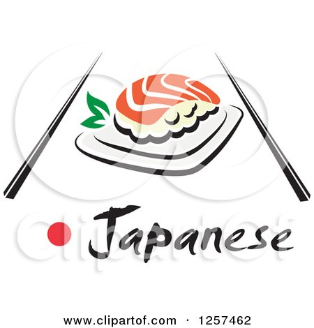 Clipart of Salmon Sushi with Chopsticks and Japanese Text - Royalty Free Vector Illustration by Vector Tradition SM