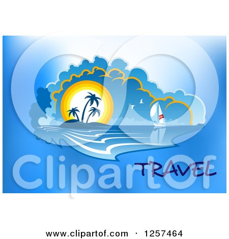 Clipart of a Sailboat and Sunset Island with Travel Text - Royalty Free Vector Illustration by Vector Tradition SM