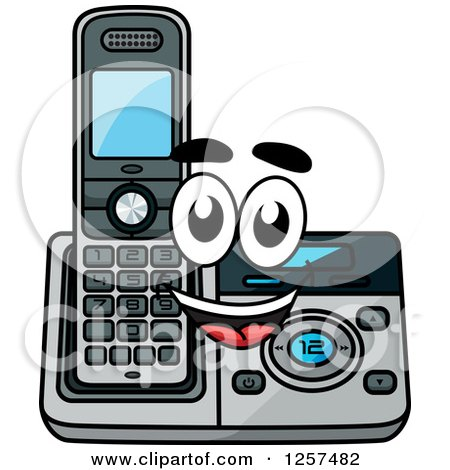 Clipart of a Happy Cordless Telephone Character - Royalty Free Vector Illustration by Vector Tradition SM