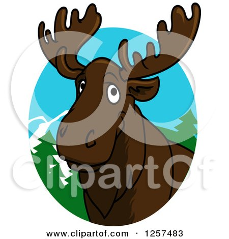 Clipart of a Happy Cartoon Moose in a Forest Oval - Royalty Free Vector Illustration by Vector Tradition SM
