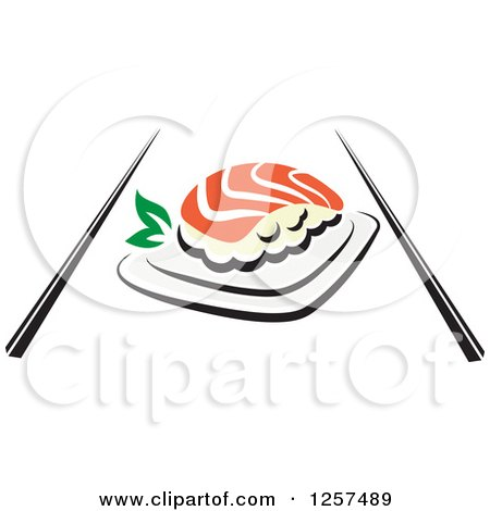 Clipart of Salmon Sushi with Chopsticks - Royalty Free Vector Illustration by Vector Tradition SM