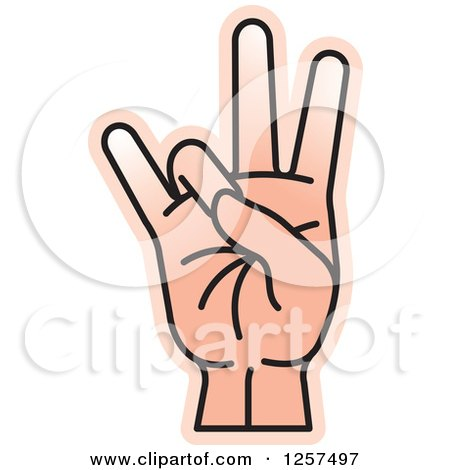 Clipart of a Counting Hand Holding up 7 Fingers, Seven in Sign Language - Royalty Free Vector Illustration by Lal Perera