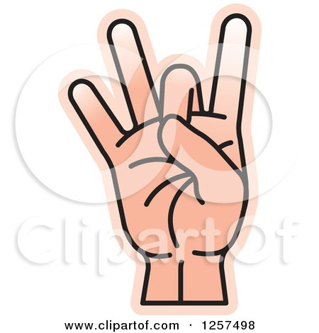 Clipart of a Counting Hand Holding up 8 Fingers, Eight in Sign Language - Royalty Free Vector Illustration by Lal Perera